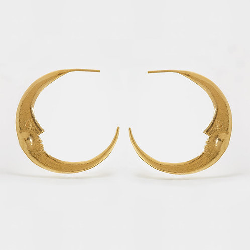 Large Crescent Moon Hoop Earrings Gold plated