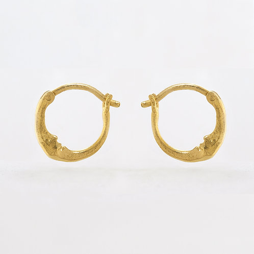 Tiny Crescent Moon Hoop Pair Gold Plated
