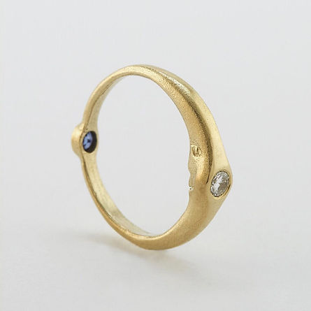Day and Night Crescent Moon Wedding Band