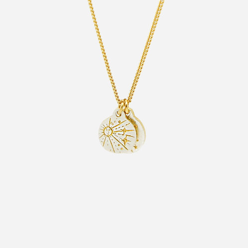 Sun & Moon Swinging Disc Necklace, Silver and Gold Plated