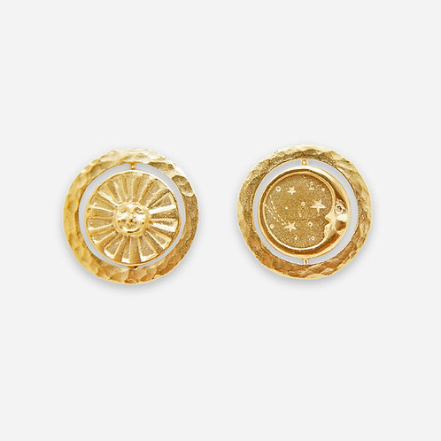 Glide and Slide Sun & Moon Earrings, Gold Plated