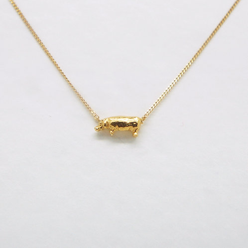 Hippopotamus Necklace Gold Plate