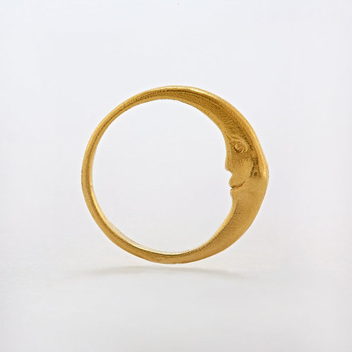 Crescent Moon Ring Gold Plated