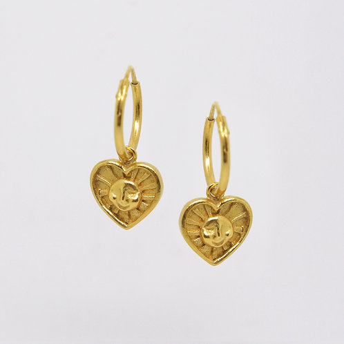 Sunrays of Love Hoop Earrings, Gold Plated