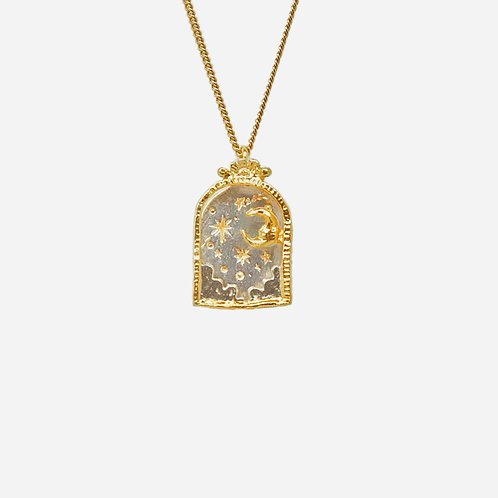Moony Sky Arch Necklace, Silver and Gold Plated