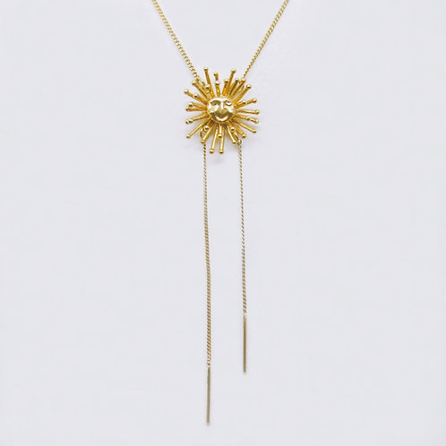 Large Daydreaming Sun Neckalce Gold Plated