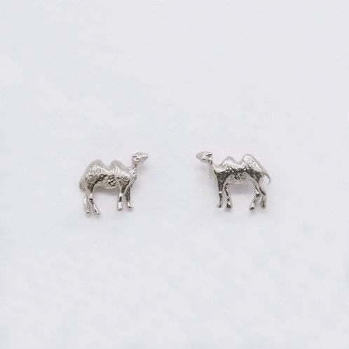 Camel Stud Earrings Silver