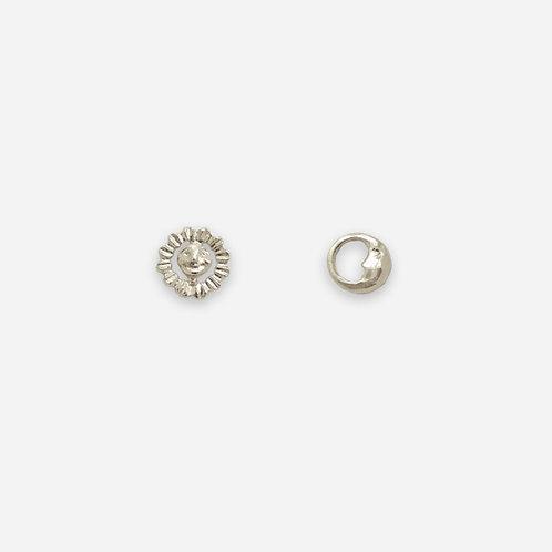 Sun & Moon Tiny Stud Earrings, Silver
