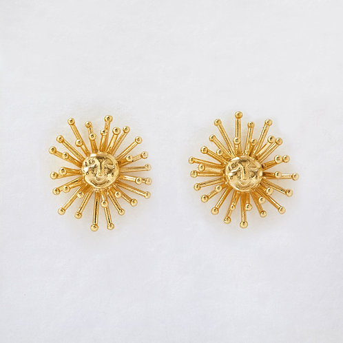 Large Daydreaming Sun Stud Earrings Gold Plated
