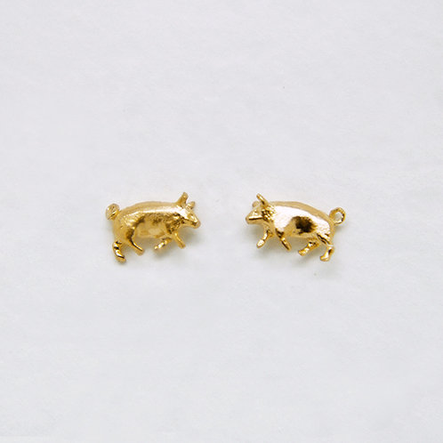 Pig Stud Earrings Gold Plated