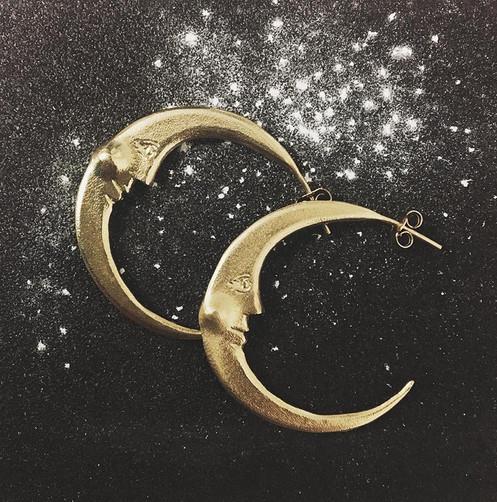 60508153efb9e Large Crescent Moon Hoop Earrings Silver