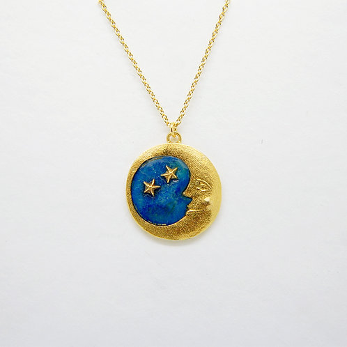 Moon & Star Necklace Gold Plated