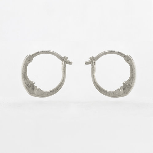 Tiny Crescent Moon Hoop Pair Silver