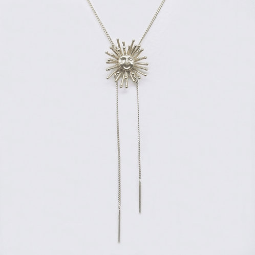 Large Daydreaming Sun Stud Neckalce, Silver