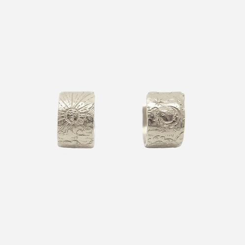 Sun & Moon Rendezvous Huggie Earrings, Silver