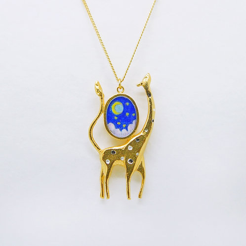 Giraffe and Moon Necklace