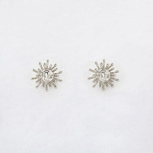 Small Daydreaming Sun Stud Earrings Silver
