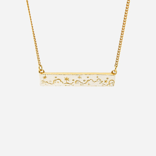 Starry Sky Bar Necklace, Silver & Gold Plated