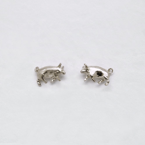 Pig Stud Earrings Silver