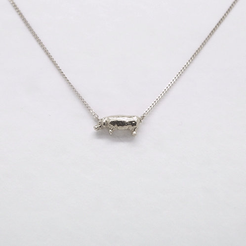 Hippopotamus Necklace Silver