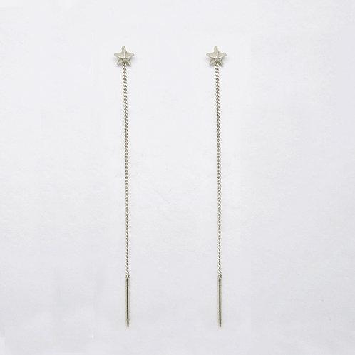 Star Drop Earrings Silver