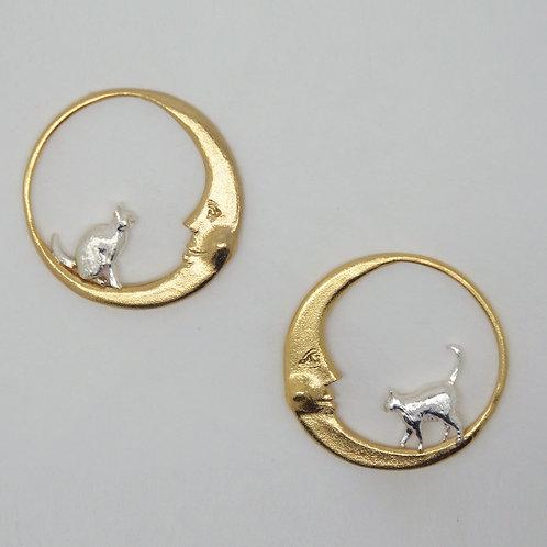 Moon and Artemis Loop Earrings