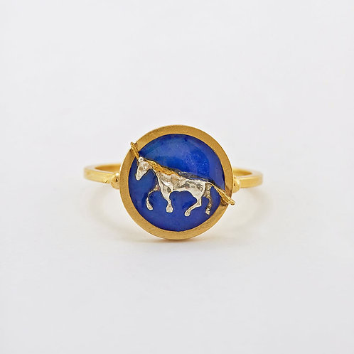 Unicorn Cameo Ring Gold Plated