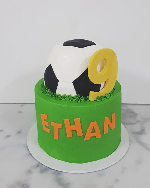 Soccer Vanilla Rainbow cake with m&ms an