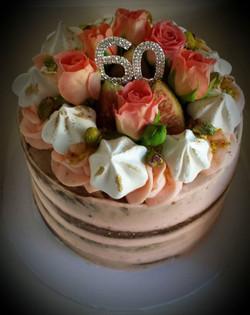 Semi naked Persian love cake.jpg Spiced caramel mud cake with rose cheesecake filling, meringues, pi