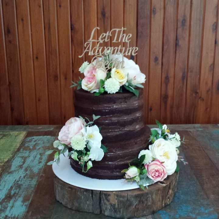 Nutella, hazlenut and strawberry naked wedding cake