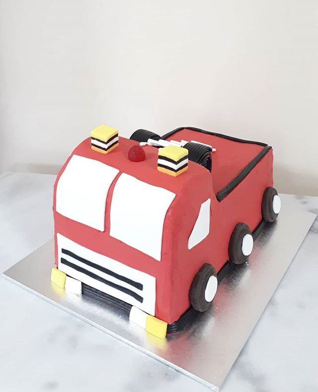 Fire Engine for Hudson! Chocolate cake w