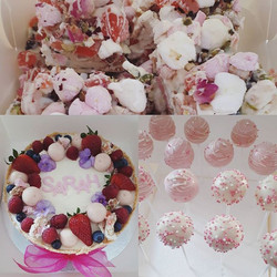 Lemon berry cheesecake, persian rose & pistachio rocky road and white chocolate cake pops all in Sar