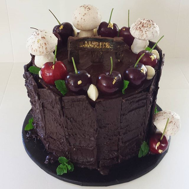 Black Forest cake in camouflage as the Black Forest