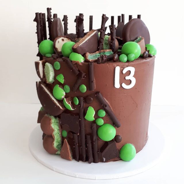 Modern chocolate and mint loaded cake