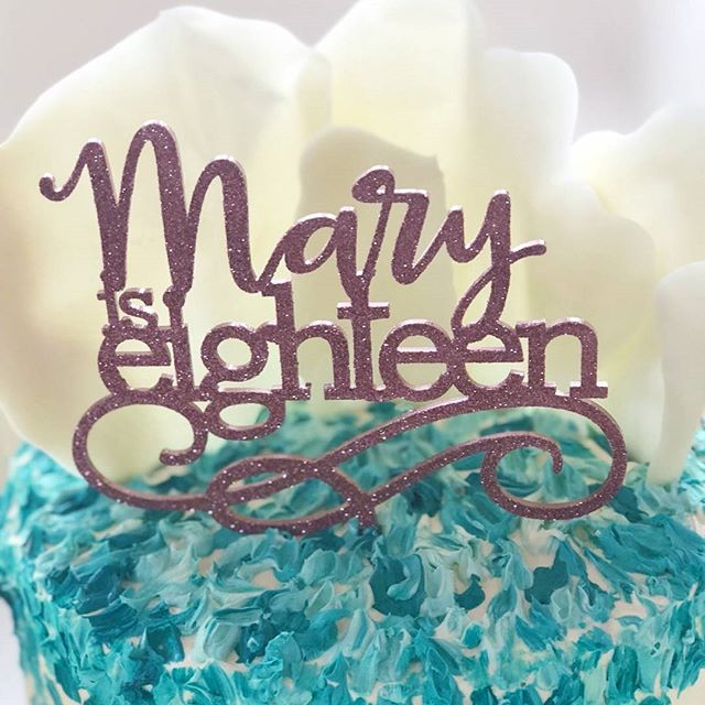 18th birthday cake for Mary. Chocolate flecked sour cream cake with painted buttercream and white ch