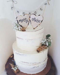 I loved making this semi naked rustic engagement cake complete with handmade wooden heart name toppe
