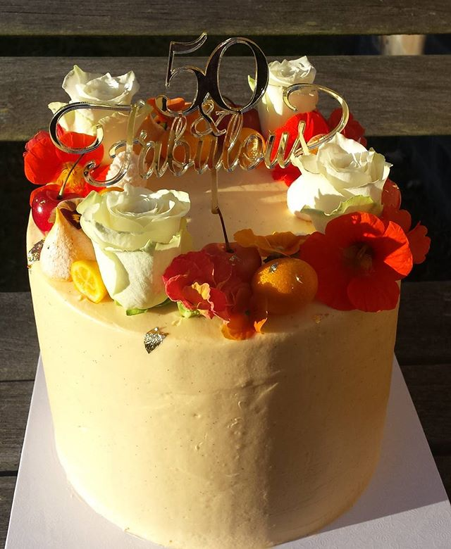 Loving the colours on this cake in the morning light.  Almond and orange blossom cake with vanilla b
