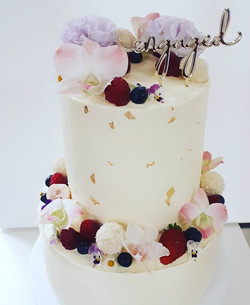 Engagement cake! Chocolate and raspberry top tier and vanilla bean and strawberry bottom tier