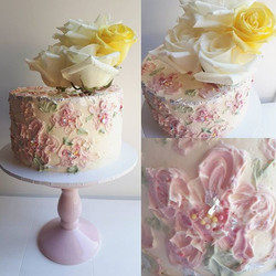 Pretty colours and textures for this painted buttercream cake. Gluten free orange and almond cake wi