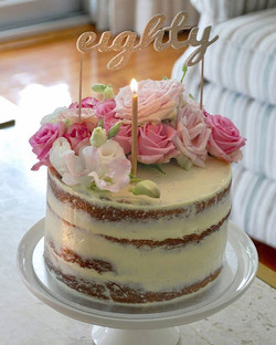 Last one of this pretty cake with the topper. #eighty #nakedcake #sydneycakes #cakesbyheidi.com