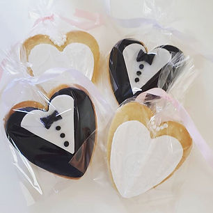 Bride and Groom heart sugar cookie favou