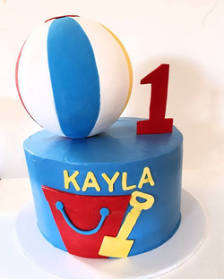 Perfect cake for the first weekend of summer! #rainbowcake #beachcake #summercake #1stbirthdaycake #