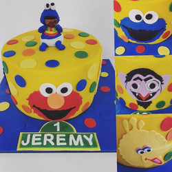 My first ever sesame street cake to brighten the day! Chocolate cake filled with nutella buttercream