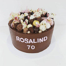 Happy 70th Birthday Rosalind! Chocolate mud cake with milk chocolate ganache #mudcake #ganache #ferr