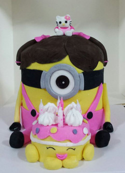 For a 5 year old who loves minions, shopkins and hello kitty! Vanilla and strawberry cake