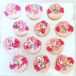 Pink party cupcakes! Vanilla cake filled