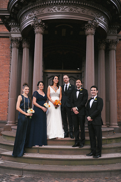 Wedding party on the Lippitt House portico