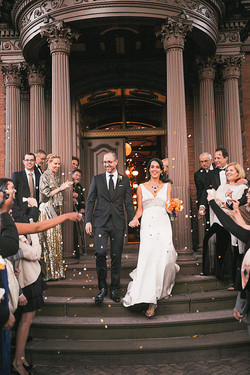 Bride and groom celebrated on the Lippitt House portico