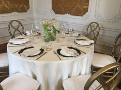 Wedding table setting in the drawing room