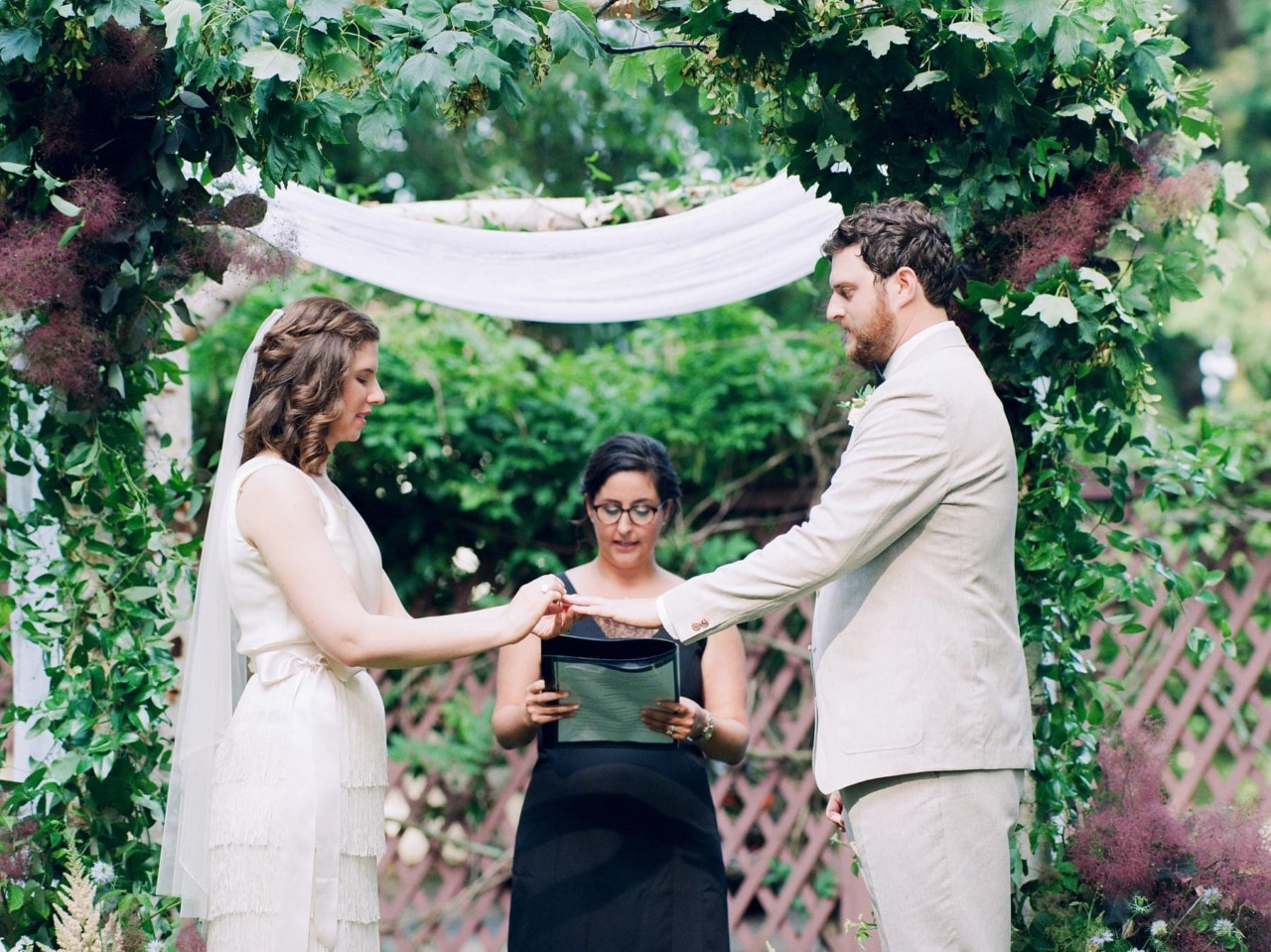 Wedding ceremony in the Lippitt House garden